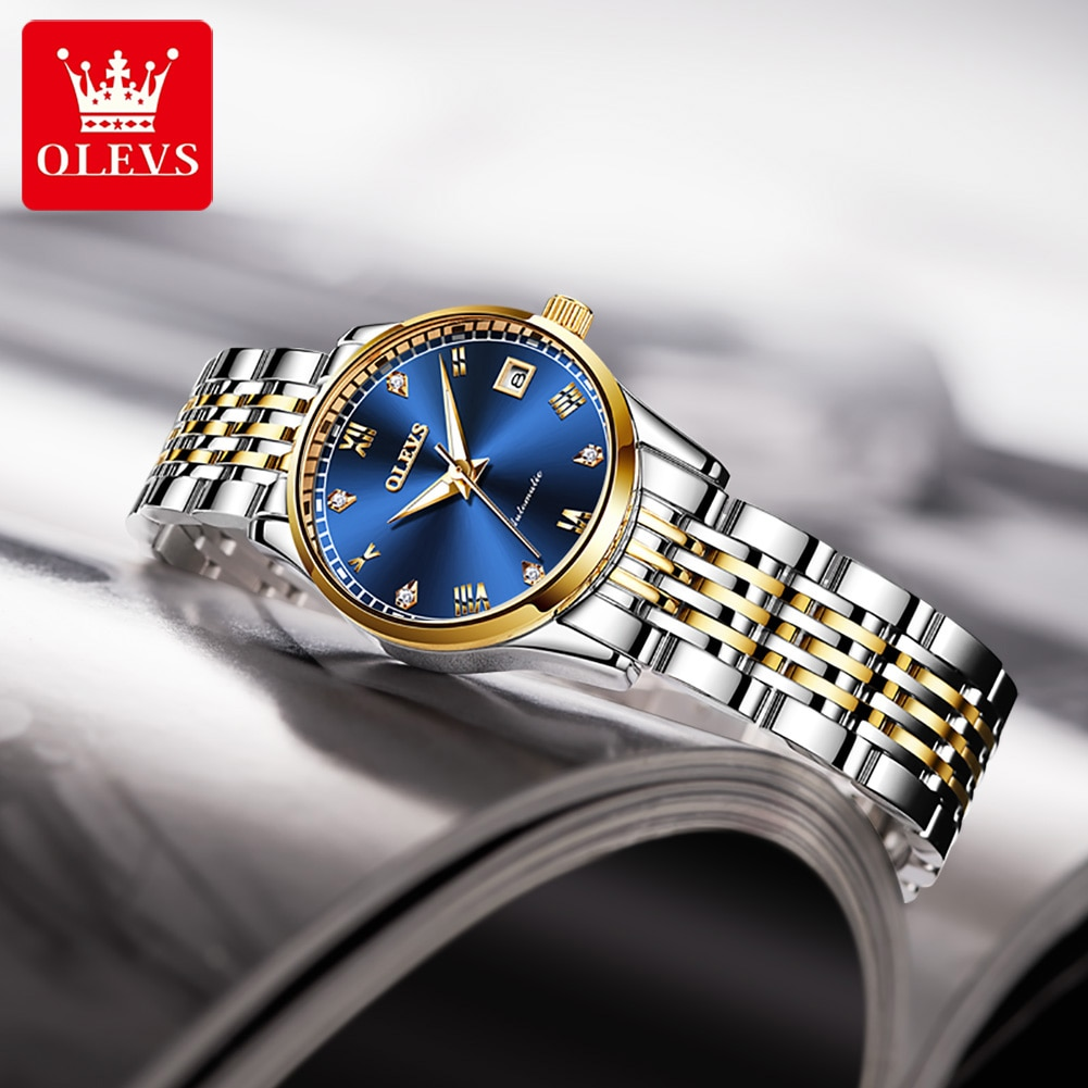 OLEVS Luxury Fashion Automatic Watches Women Mechanical Wristwatch Week Calendar Stainless Steel Waterproof Luminous Lady Watch enlarge