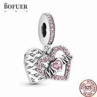 bofuer mom pink heart dangle charm love pendant fit 925 sterling silver original pandora charms bracelet bead making jewelry 209