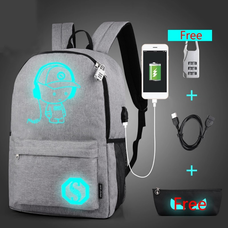 City Jogging Bags Outdoor Luminous Sports Backpack with USB Charge Port (Not Include Power), Students Anti-theft Laptop Backpack