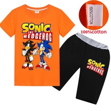2020 frühling Sommer Baumwolle Jungen Sonic The Hedgehog kleidung Kinder T-shirt Top Freizeit Streamer Hosen Kinder Trainingsanzug Sets