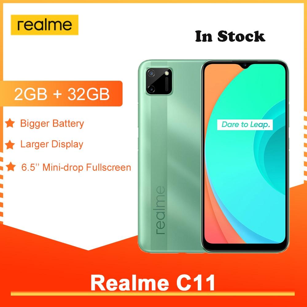Realme C11 6,5 глобальная версия 2 Гб оперативной памяти, 32 Гб встроенной памяти, 4G мобильный телефон Smarthphone Helio G35 5V2A Зарядное устройство 5000 мА/ч, 13MP ...