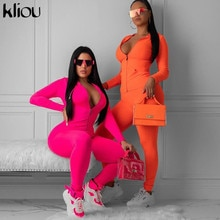 Kliou neon pink orange two pieces set women fitness sportswear 2019 autumn long sleeve skinny tops elastic leggings tracksuit