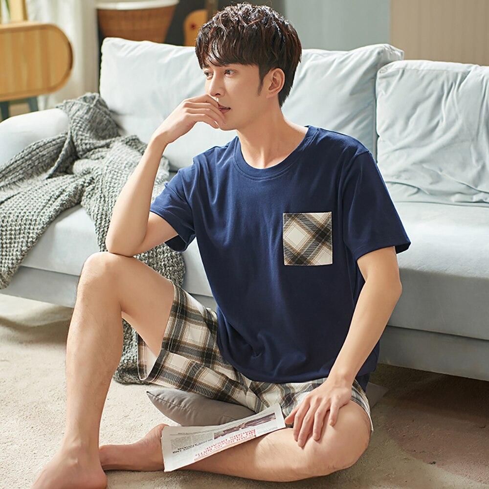Лето мужчины хлопок пижама повседневный короткий рукав пижама комплект с карманом мужской клетчатый шорты тонкий одежда для сна костюм плюс размер ночное белье