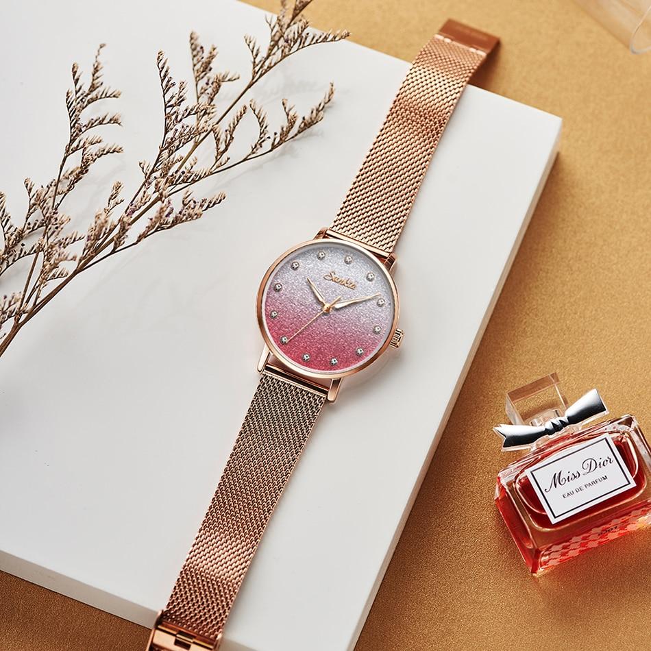 SUNKTA Luxury Brand Gift Women Watches Rose Gold Watches For Women Stainless Steel Waterproof Quartz Ladies Watch Zegarek Damski enlarge