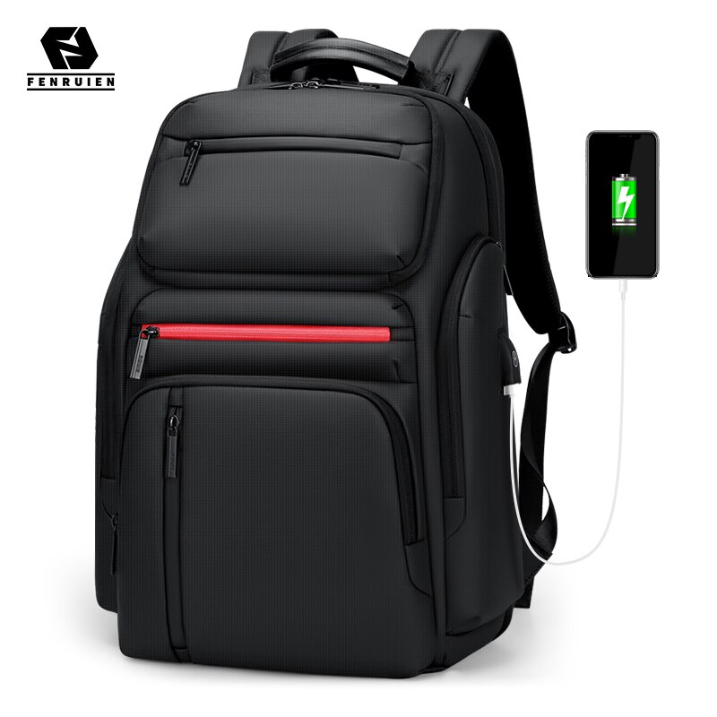 Fenruien-حقيبة ظهر للكمبيوتر المحمول كبيرة السعة للرجال ، حقيبة ظهر للسفر مع شاحن USB متعدد الوظائف للمراهقين