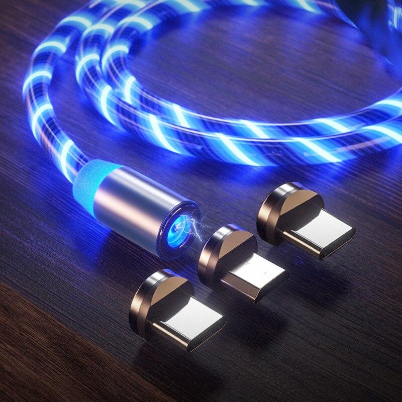 Cable magnético Micro USB iluminado, Cable USB tipo C, Cable de carga...