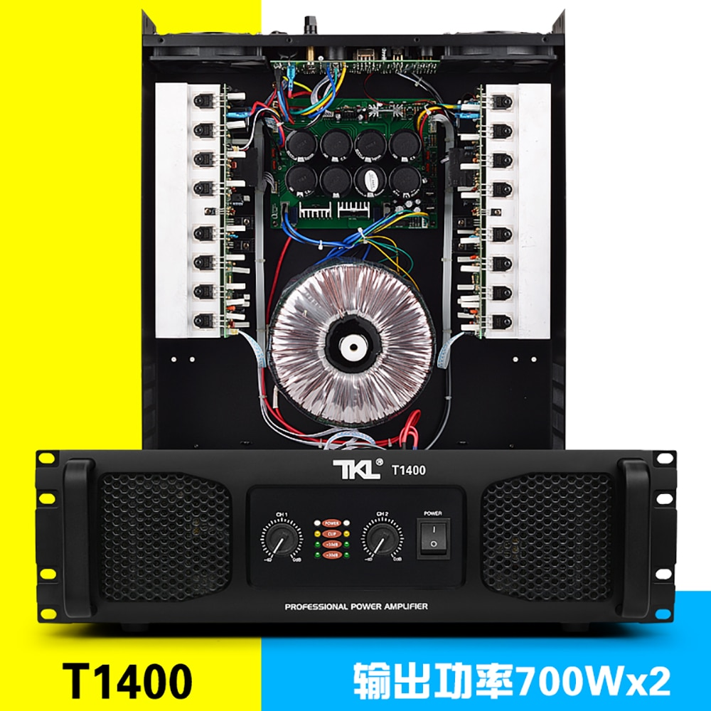 TKL T1400 8 أوم 700w مضخمات الطاقة 2 قنوات لالحانات المرحلة