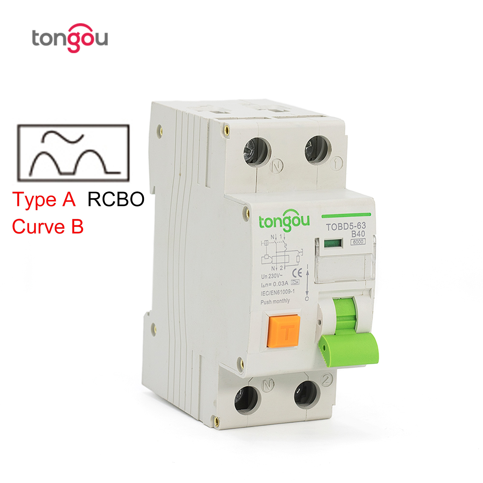Disyuntor de corriente Residual electromagnético tipo A curva B RCBO 6KA 1P + N 16A 40A con protección contra sobrecorriente y fugas
