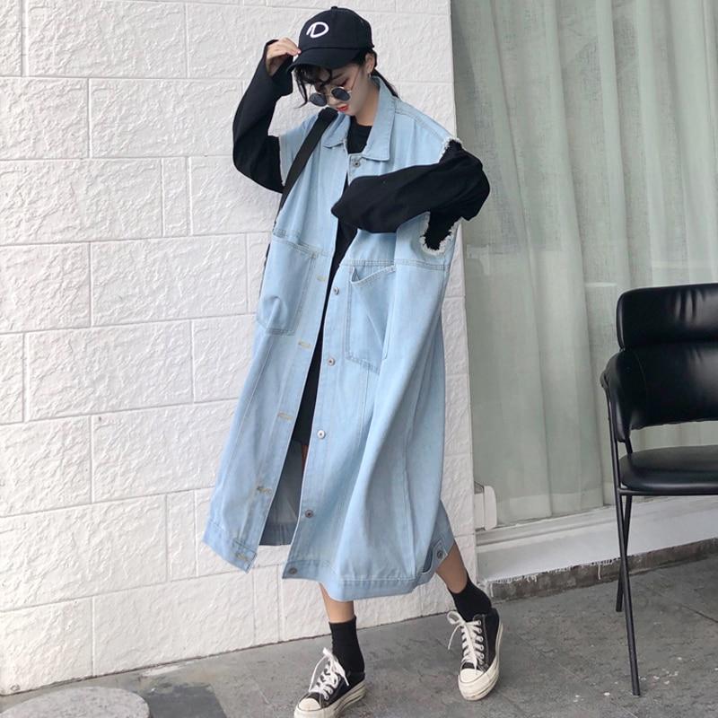 LANMREM 2020 vintage streetwear denim sin mangas abrigo largo famale Harajuku chaleco bolsillos dobles chaleco suelto sobre la rodilla YJ58605