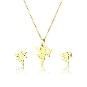 Stainless Steel Baby Kids Cupid Angel Wing With Bow Arrow Pendant Chain Necklace Sets Choker For Women Collier Femme Jewelry