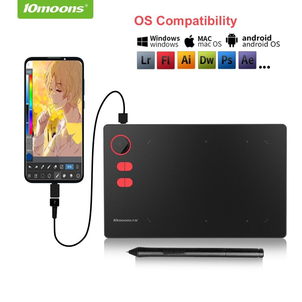 10moon-جهاز لوحي للرسومات ، G20 ، 8192 مستوى ، بكرة رسم رقمية ، لا حاجة لشحن القلم ، متوافق مع هاتف Android
