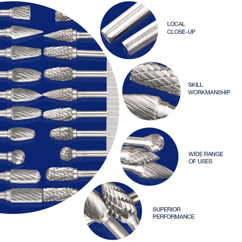 10 pz acciaio al tungsteno rettifica testa carburo di tungsteno frese - Utensili abrasivi - Fotografia 4