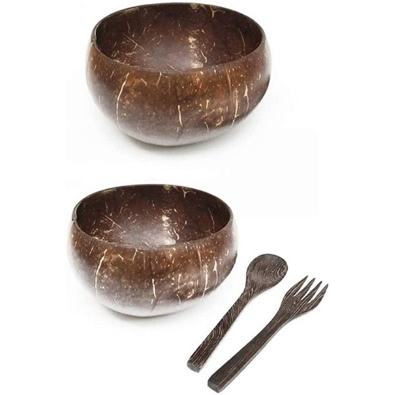 Cuencos de coco y juego de tenedor cuchara de madera, cuenco orgánico...