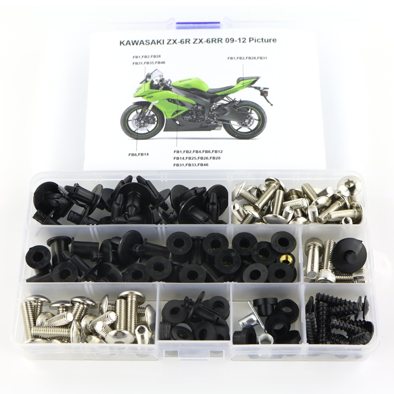 For Kawasaki ZX6R ZX-6R ZX6RR ZX-6RR 2009 2010 2011 2012 Motorcycle Full Fairing Bolts Kit Fairing Clips Screws Steel