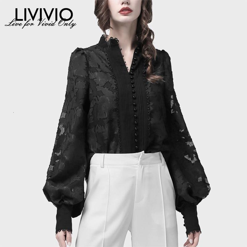 [LIVIVIO] Pearl Single Breasted Womens Shirts Lantern Long Sleeves Lace Stand Collar Korean Blouse Tops Female Autumn Fashion