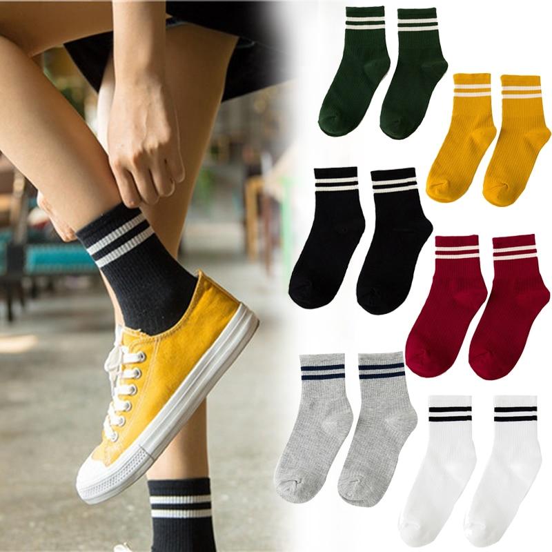 1 Pair Fashion Ankle Striped Cotton Blend Women Girls Sport Casual Sock Hosiery Soft Short Socks Street Style