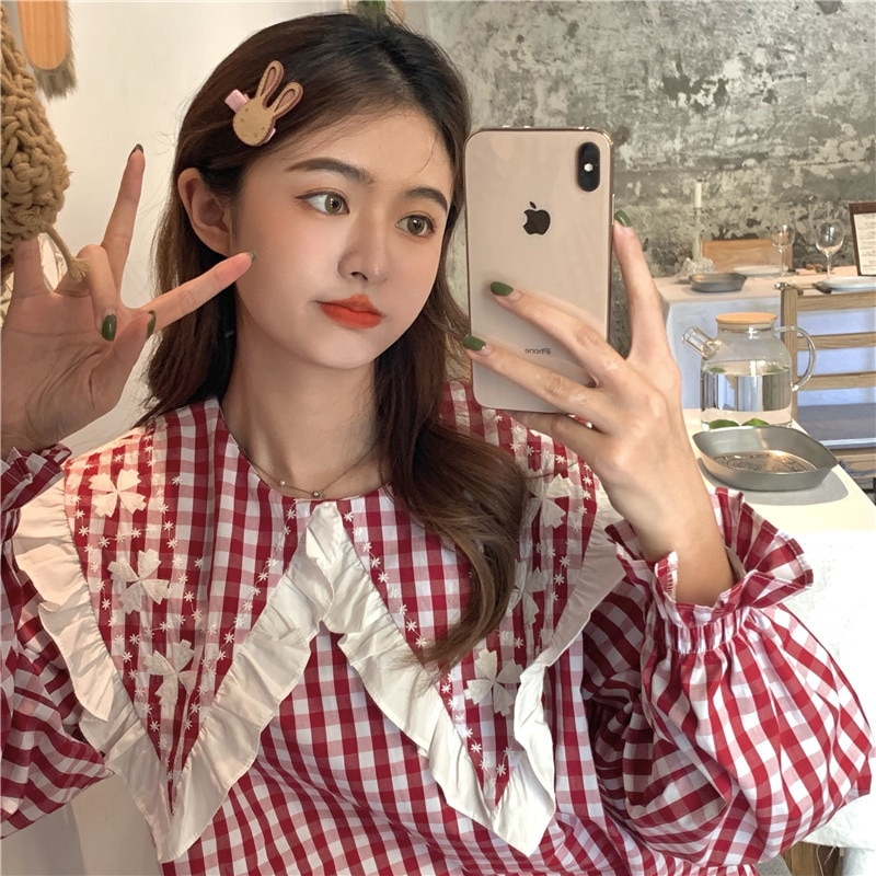 Autumn 2021 New Shirt Sweet Aging Design Feeling Wood Ear Doll Collar Embroidery Loose Plaid Blouse