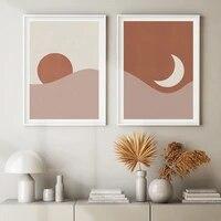 Toile abstraite de paysage de lever de lune  peinture dart murale minimaliste  image decorative pour salon  decoration de maison