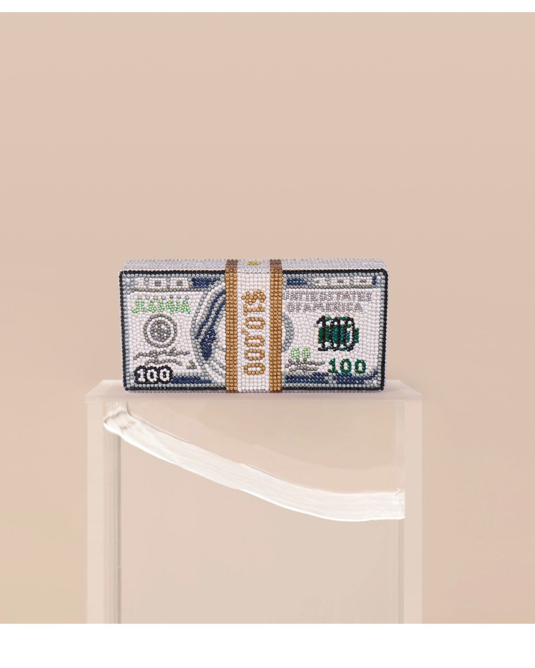 XIYUAN-حقيبة يد نسائية من الكريستال بتصميم ماسي ، 10000 دولار ، صندوق هدايا ، حقيبة سهرة ، حقيبة كوكتيل