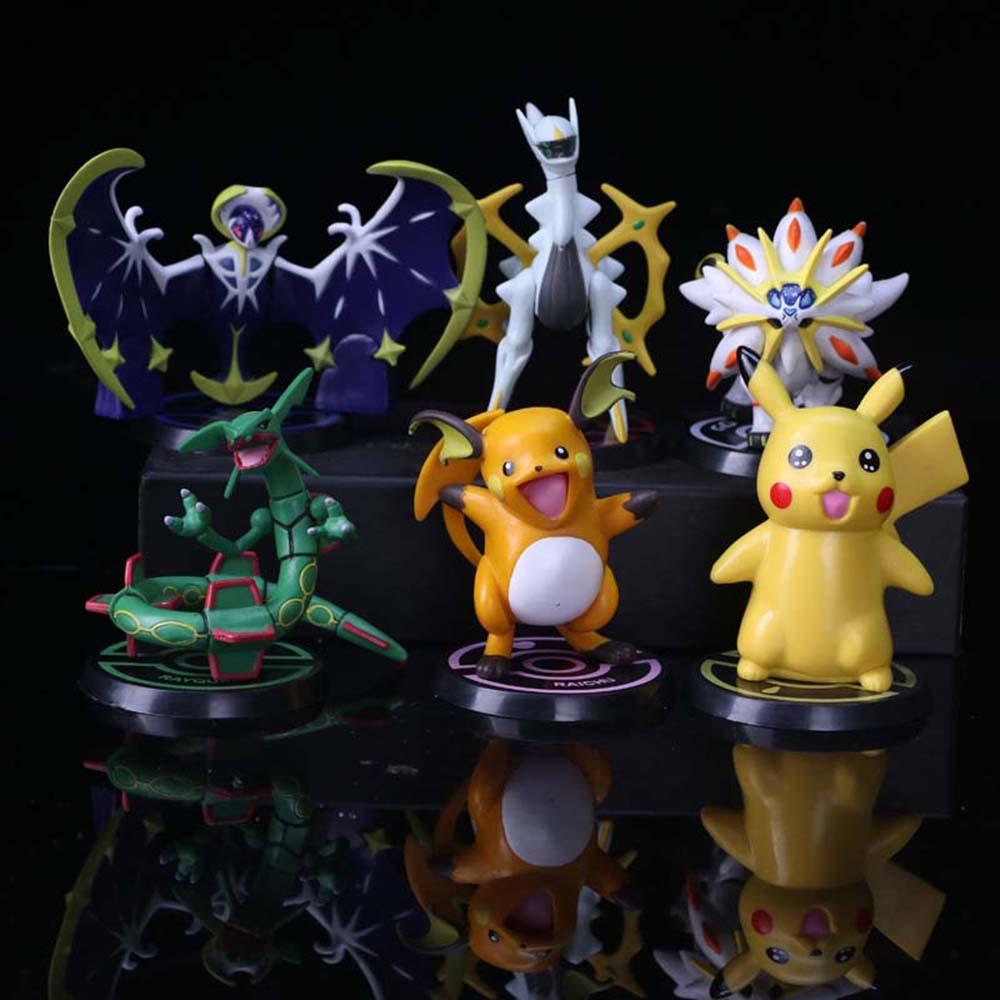 6 unids/set Pokemon Pikachu Raichu Arceus Eevee de novena generación Anime Modelo figura juguetes de PVC