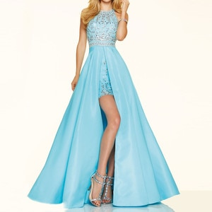 vestidos de 15 Short Front Long Back Prom moroccan White Blue Slit Special Occasion Halter sexy Party Quinceanera Dresses