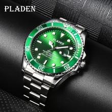 PLADEN Luminous Men Watch Green Young Style Waterproof Stainless Steel Quartz Wristwatches Luxury La