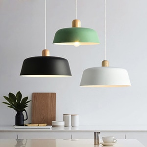 Nordic Wood Pendant Lighting Fixture Luminaire Round Kitchen Dining Room Hanging Lamp Suspension Light Home Decor Black Bedside