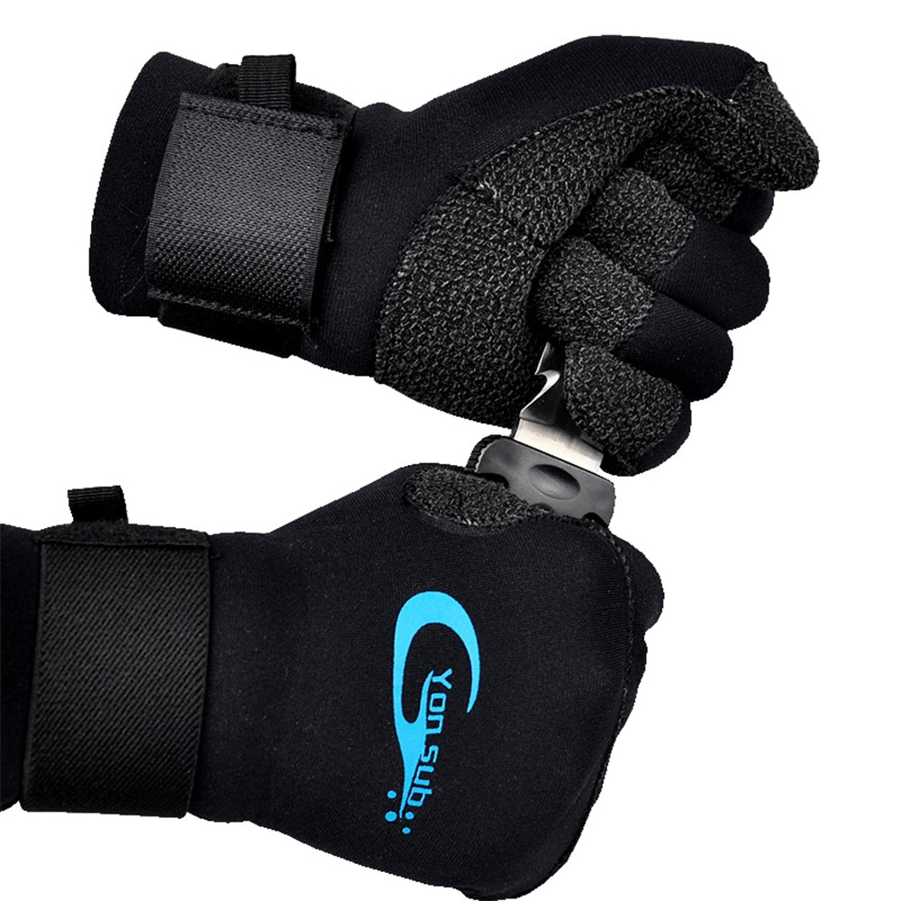 3MM Kevlar Diving Gloves For Underwater Hunting Non-Slip Wear-Resistant Equipment Adjustable Black Gloves