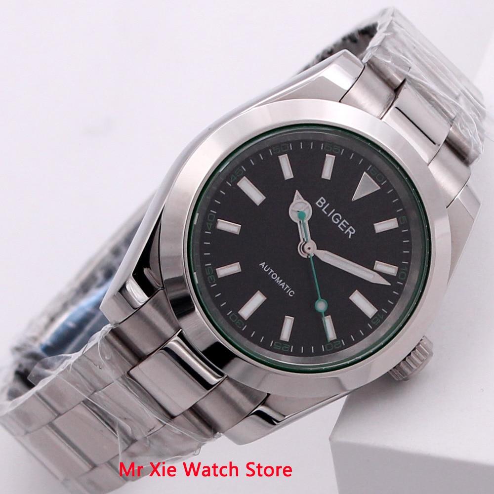 Bliger 40mm mostrador preto automático relógio masculino marca de luxo luminosa à prova dwaterproof água vidro safira relógio mecânico masculino