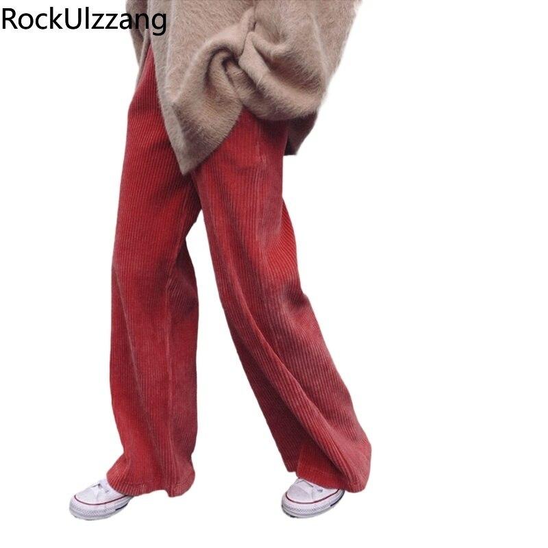 Plus Größe Lose Vintage Mode Striped Solide Cord Gerade Lange Hose Koreanische Frauen Winter Herbst Frühling Hosen Hohe Taille