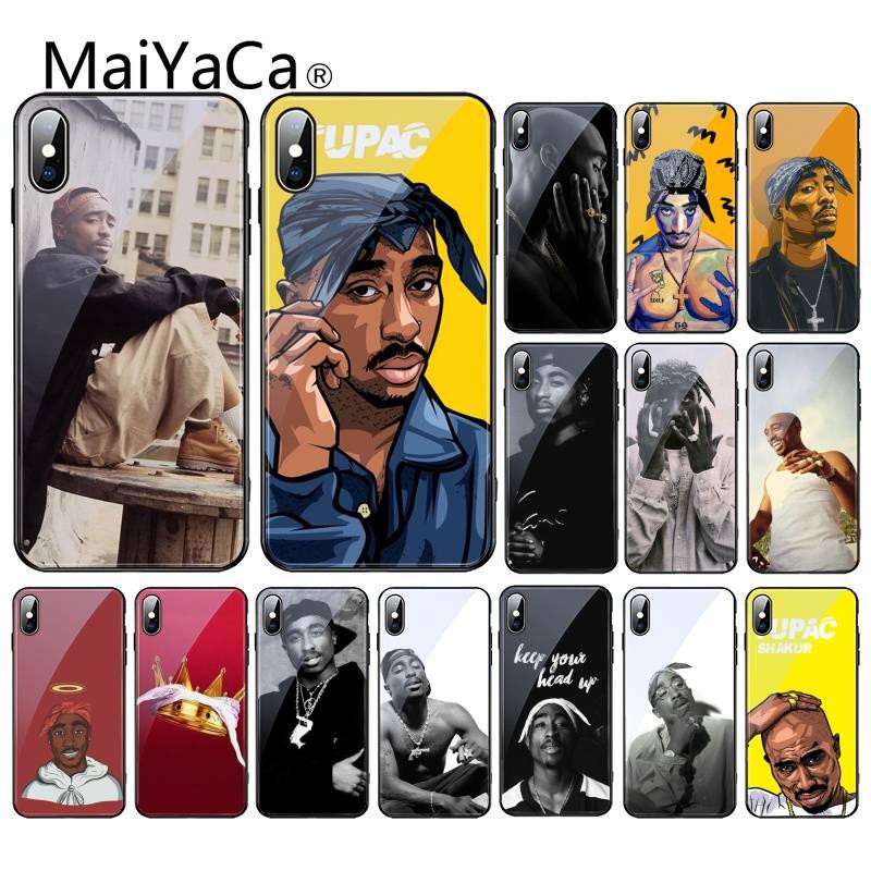 Maiyaca 2pac tupac amaru shakur cliente alta caixa do telefone de vidro para o iphone xr xs max x 7 8 6s mais 11 11pro 11pro max coque