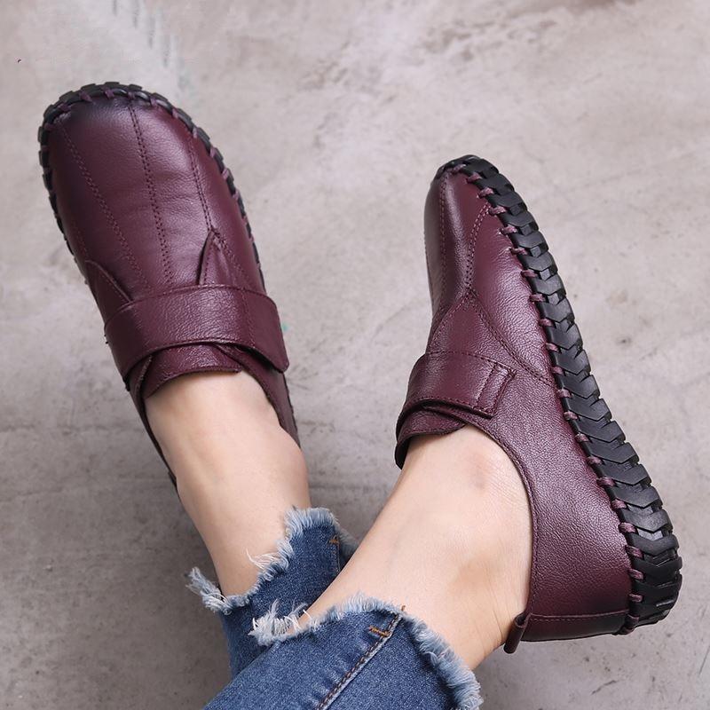 حذاء موكاسين نسائي من الجلد الطبيعي ، حذاء مسطح مصنوع يدويًا ، حذاء كاجوال عصري ، نعل ناعم ، مقاس كبير 42