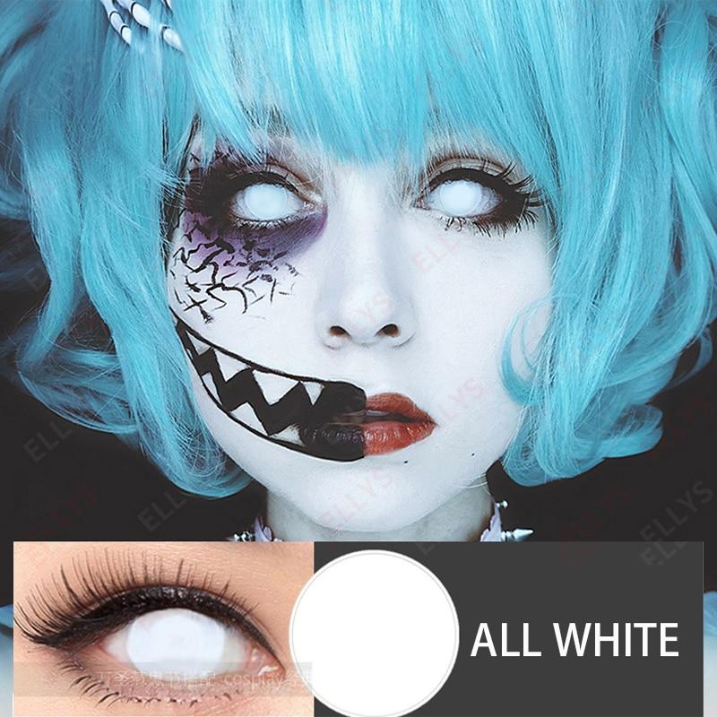 2020 полный белый цвет косметические контактные линзы для мужчин Crazy костюм женский для праздника Хэллоуин мужской Косплей Контактные линзы ...