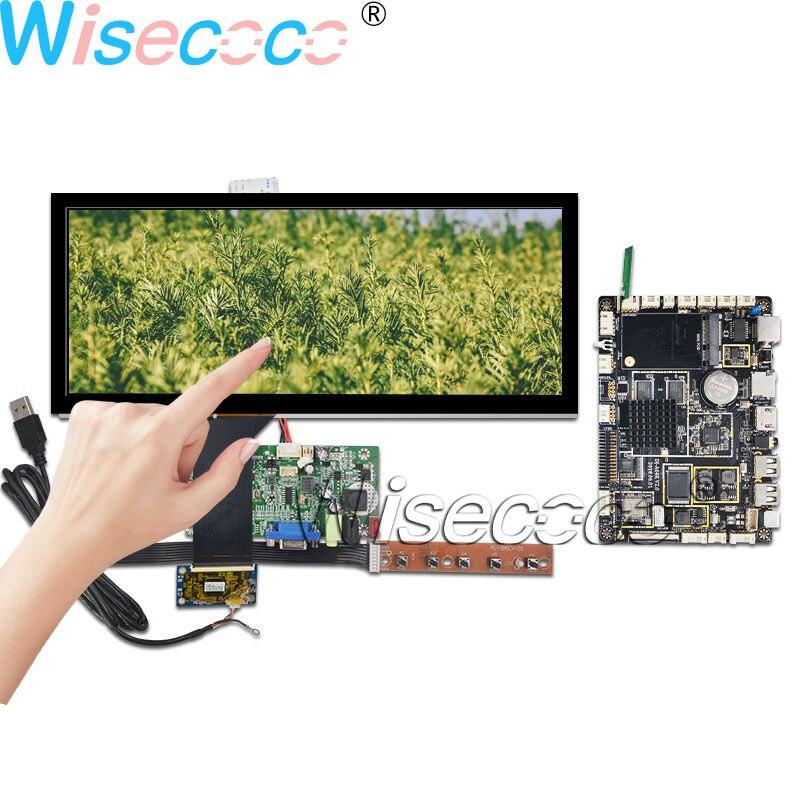 Wisecoco-شاشة LCD 12.3 بوصة 1920 × 720 ، شريط عرض ، 1000 شمعة ، مستشعر اللمس بالسعة ، 50pin LVDS VGA ، Android