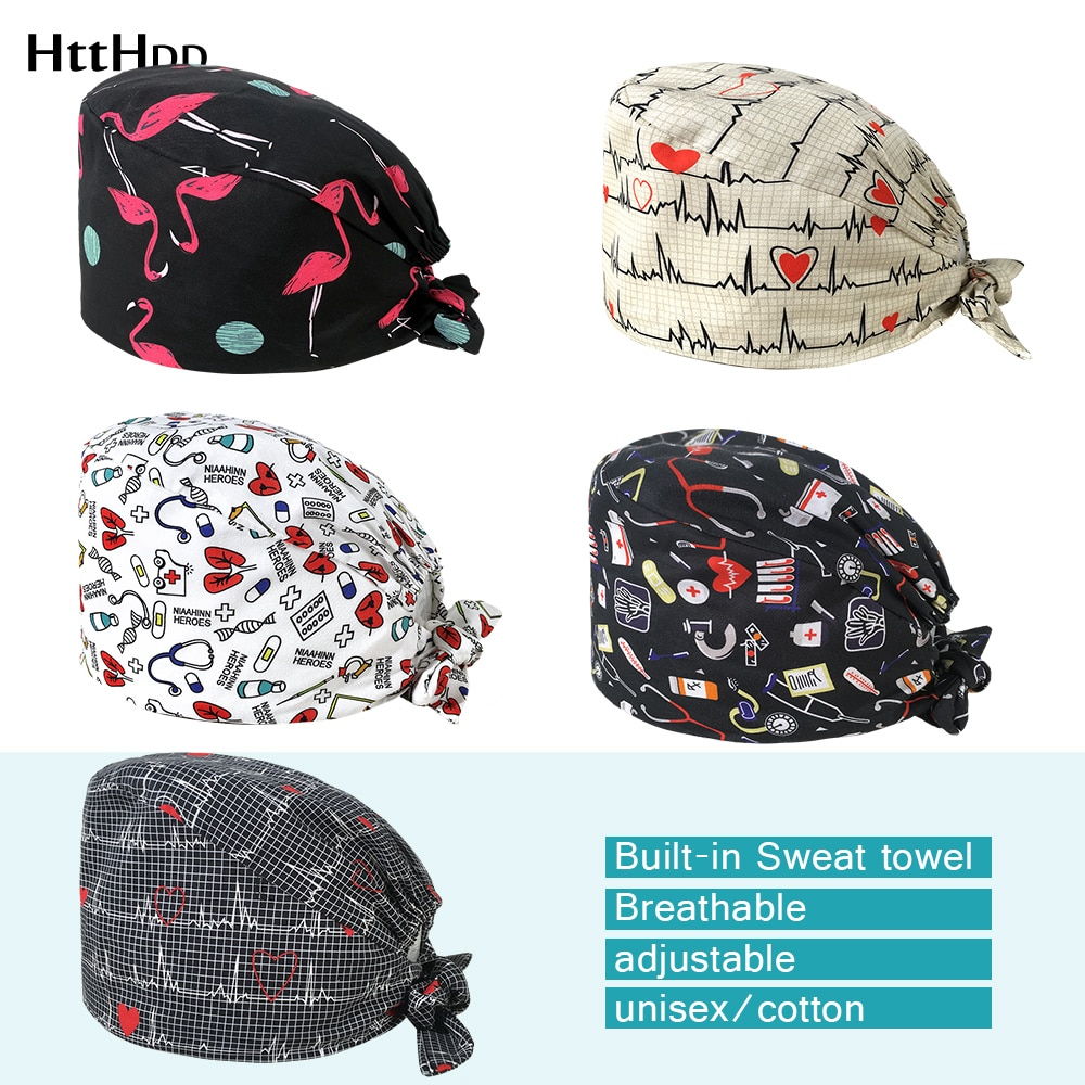 22003High Quality Breathable sweat-absorbent cartoon print scrub cap Pet grooming beauty salon lab w