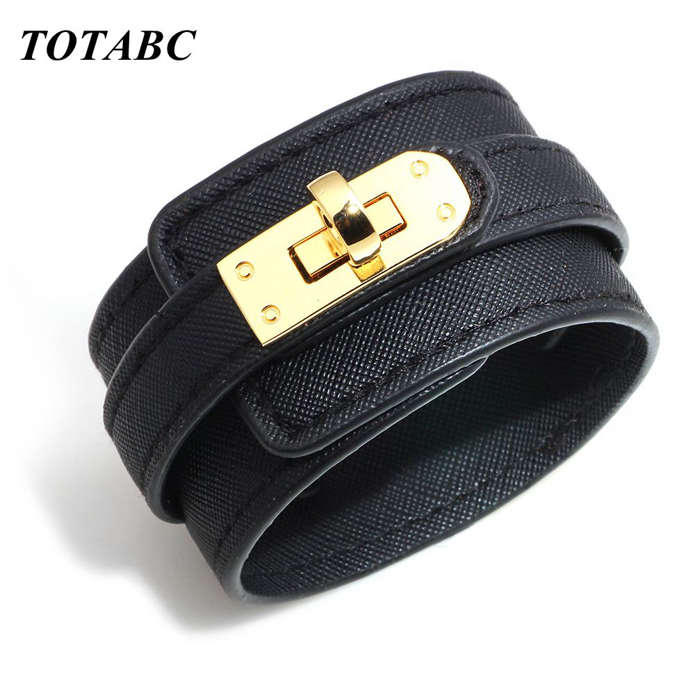 Totabc multi-camada liga pulseira de couro para retro punk feminino casual pulseira de jóias acessórios