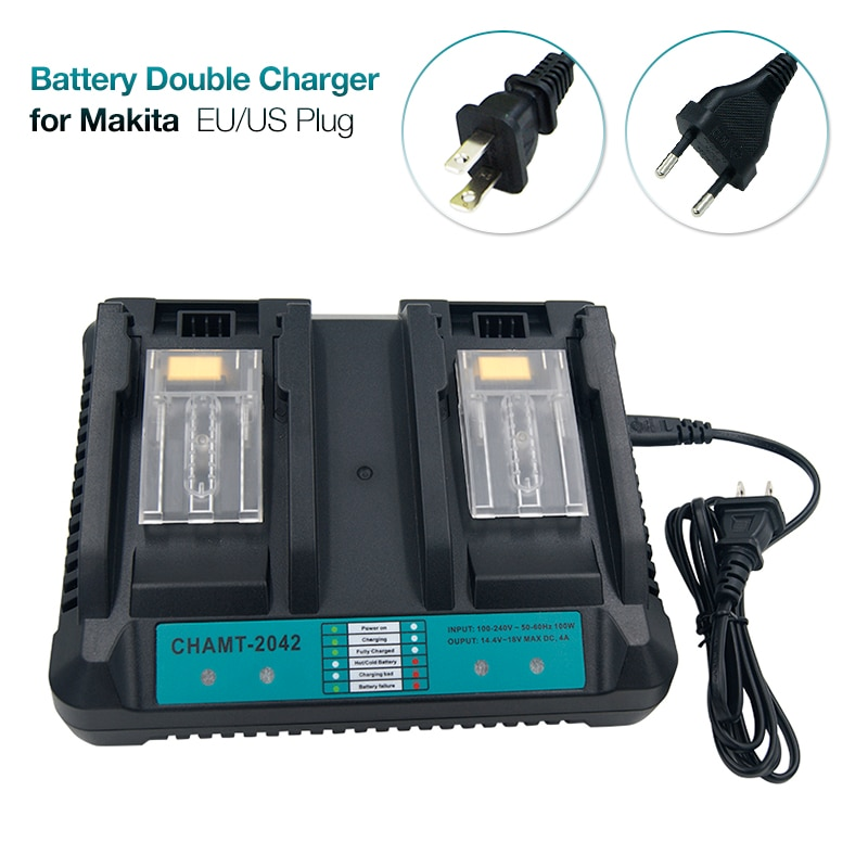 Cargador doble 4A, cargador de herramientas eléctricas de Li-ion de repuesto para Makita 14,4 V 18V, batería BL1430 BL1440 BL1840 BL1830 BL1850 BL1860