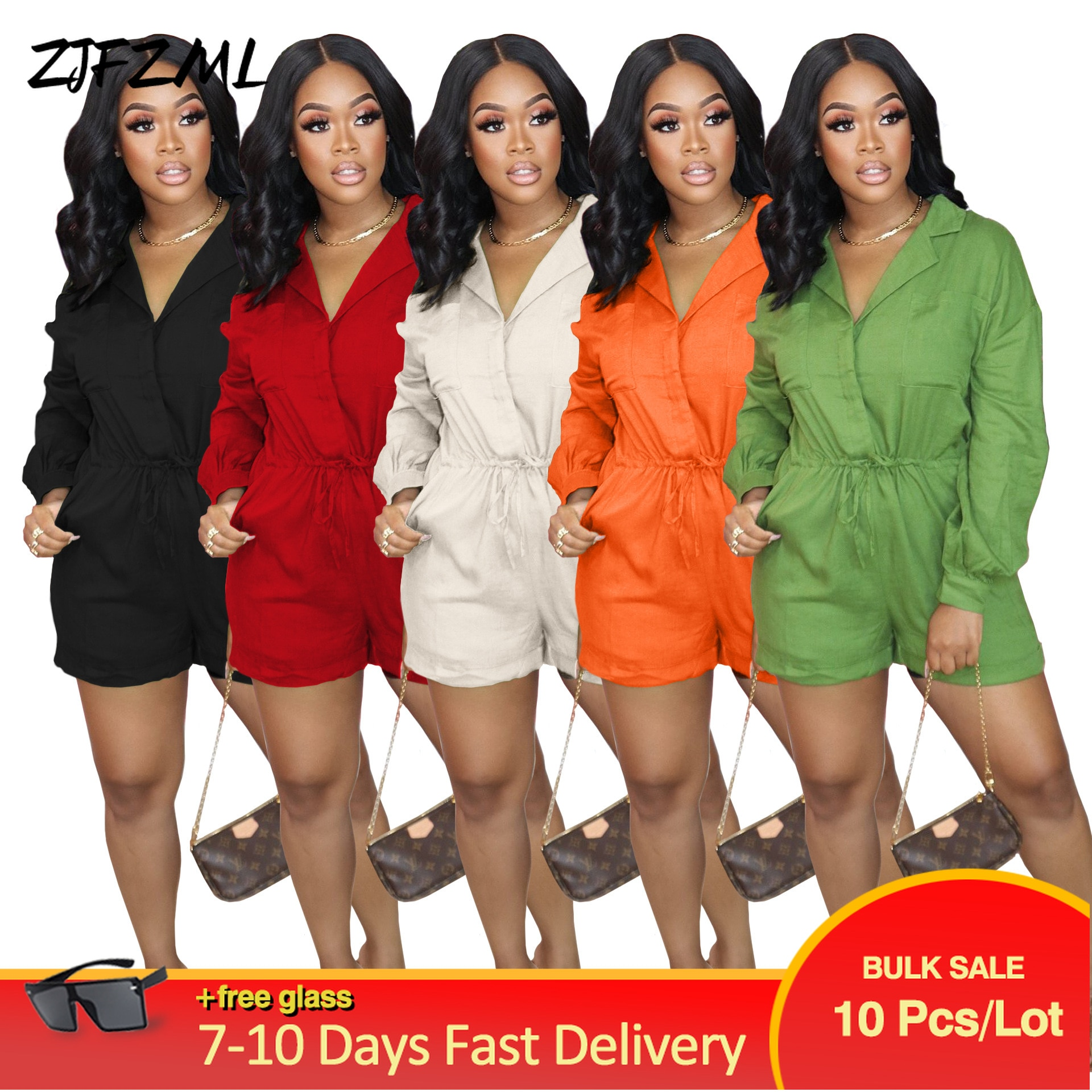 Bulk Items Wholesale Lots Women Clothing Autumn Jumpsuit Solid Long Sleeve Elastic Waist Casual Romper One Piece Short Overall