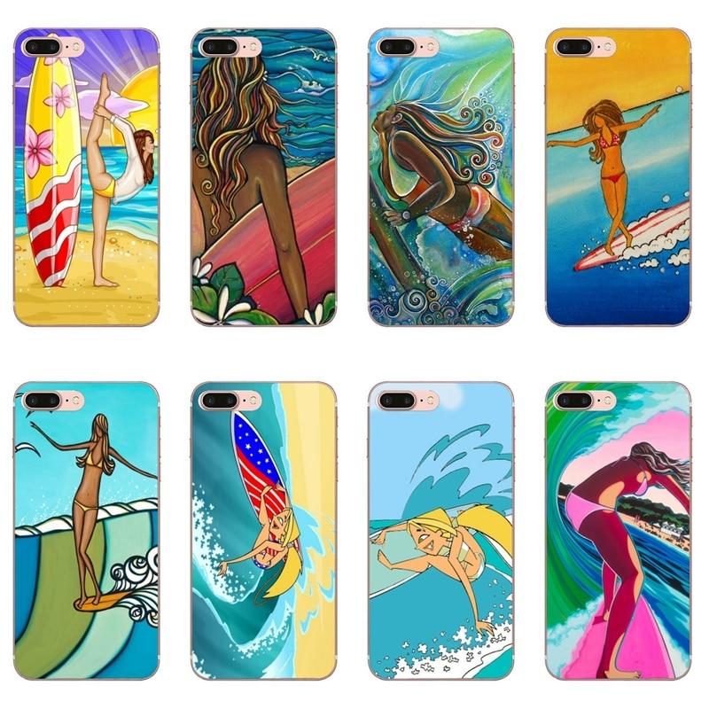 surfboard surfing art surf Girl For Huawei Honor 10 9 Lite 8C 8X 7C 7X 7A 6C pro Play 6X 6A 5A 5C 5X V10 Soft Cover Case