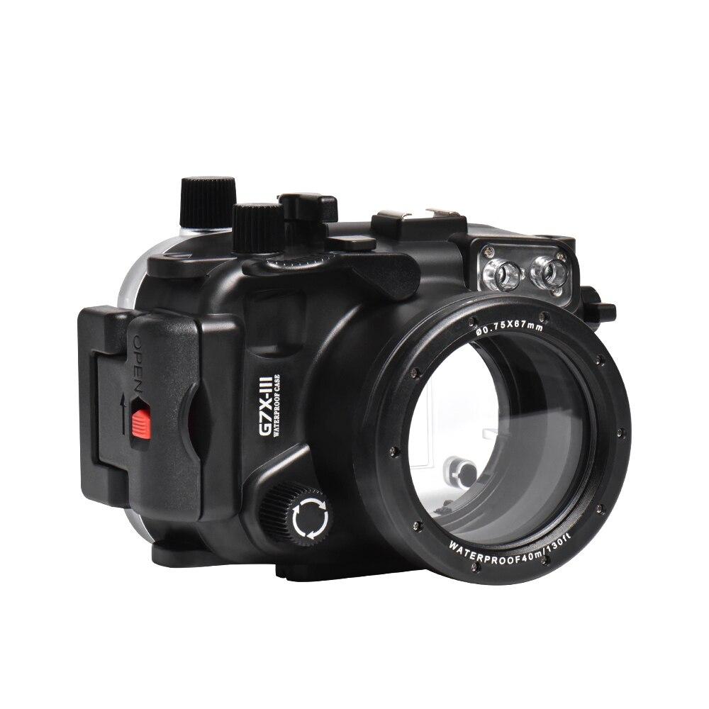 Mcoplus 40m 130ft buceo submarino carcasa impermeable para cámara Canon g7xii G7X mark iii G7X III