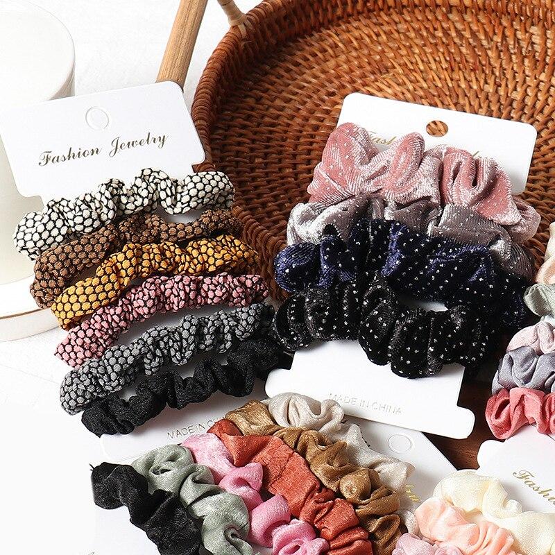 1 комплект scrunchies пръстен за коса цвят - Аксесоари за облекла - Снимка 4