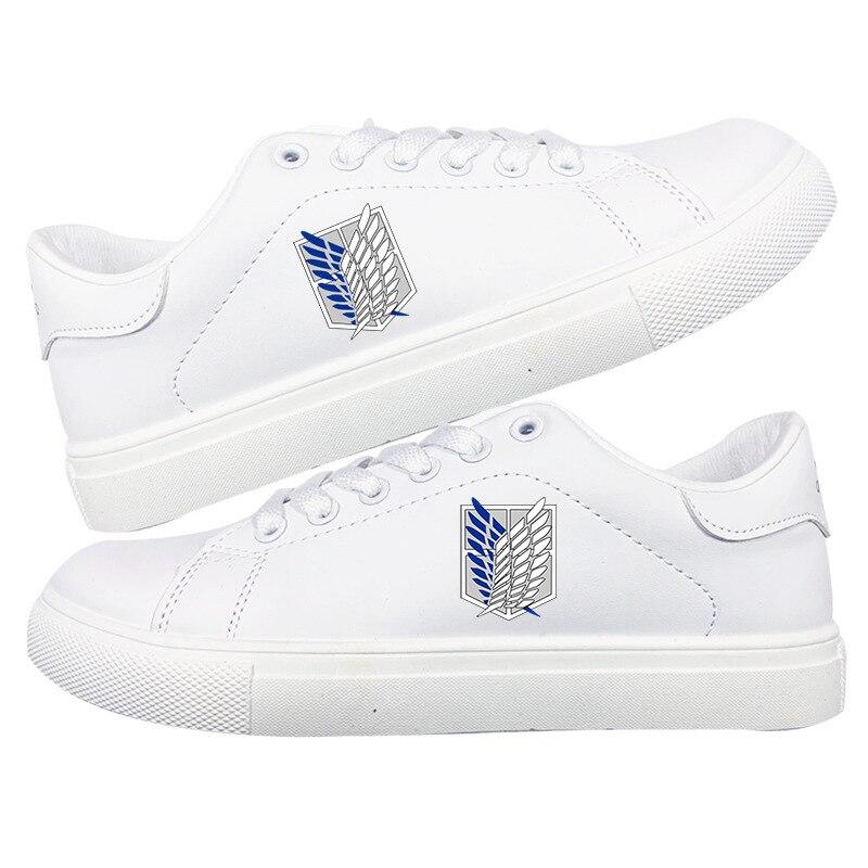 حذاء رياضي أبيض للجنسين ، كاجوال ، للطلاب ، أنيمي ، هجوم على Titan Jiyuu no Tsubasa
