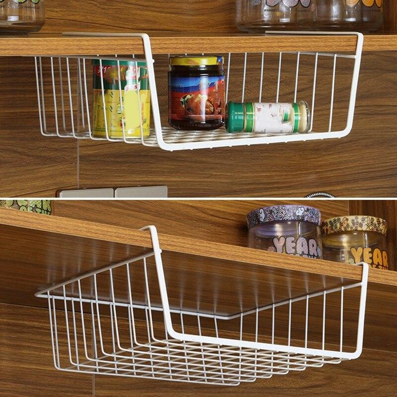 Cesta debajo de la estantería, 2 paquetes de estantería de alambre de acero inoxidable, ahorro de espacio, armario de almacenamiento para organización de estantería, Cou de cocina