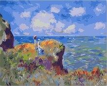Bricolage colorations par numéros avec couleurs falaise marche à Pourville Monet photo dessin peinture par numéro peinture acrylique encadré maison