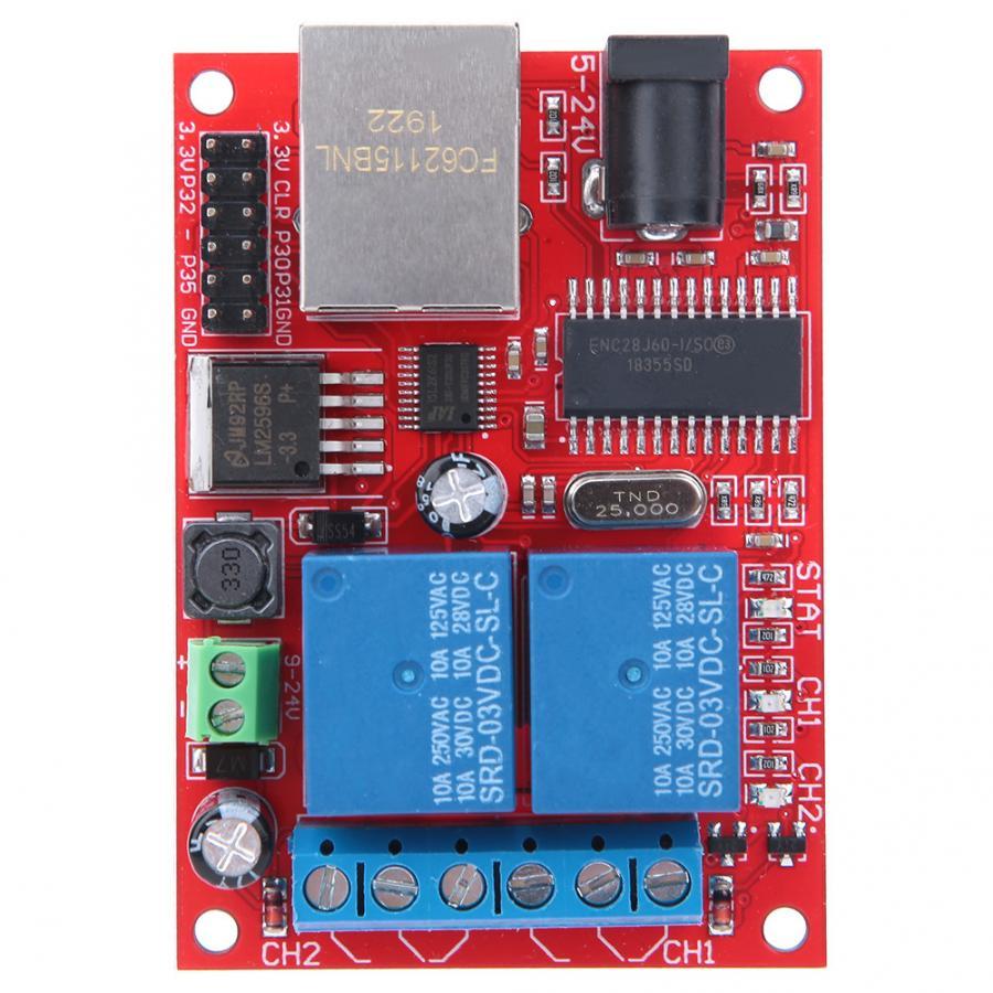تحكم وحدة LAN إيثرنت عالية الجودة 2 طريقة التتابع مجلس تأخير التبديل DC5V-24V قبالة تأخير الموقت تتابع