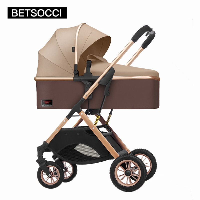 BETSOCCI baby stroller 2in 1 can sit, lie down, lightly, and fold. Shock-absorbing high landscape newborn baby stroller