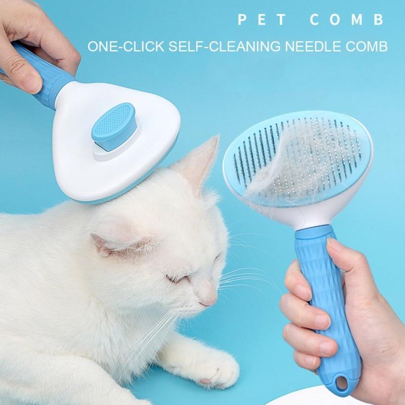 Cepillo de pelo para mascotas, peine para el cuidado de gatos, productos para gatos y mascotas, peine para pulgas, peine para mascotas para perros, cepillo de pelo automático para el cuidado de mascotas
