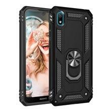 Dla Huawei Y5 2019 AMN-LX9 Y6 2019 Y6s 2019 metalowy pierścień twardy futerał na telefon dla Honor 8S KSE-LX9 KSA-LX9 pancerz Case Back Cover Etui>
