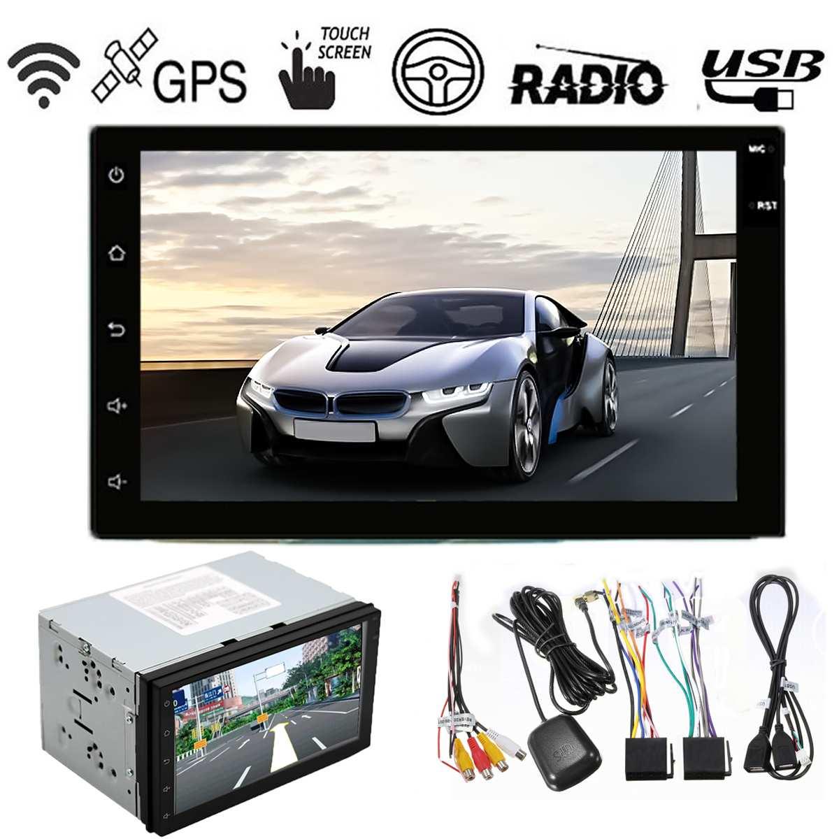 REPRODUCTOR DE MP5 con Radio para coche 2 DIN, 7 pulgadas, Android 6,0, WIFI, estéreo, pantalla táctil, reproductor Multimedia HD para coche con GPS de 16GB