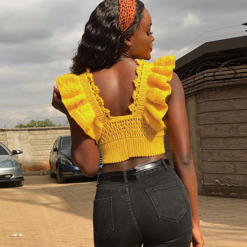 crochet insert hollow out top Fashion Knitted Tops Women 2021 Crochet Hollow Out Ruffles Sexy Deep V Neck Tops Yellow Backless Knitting Wavy Crop Top T Shirt